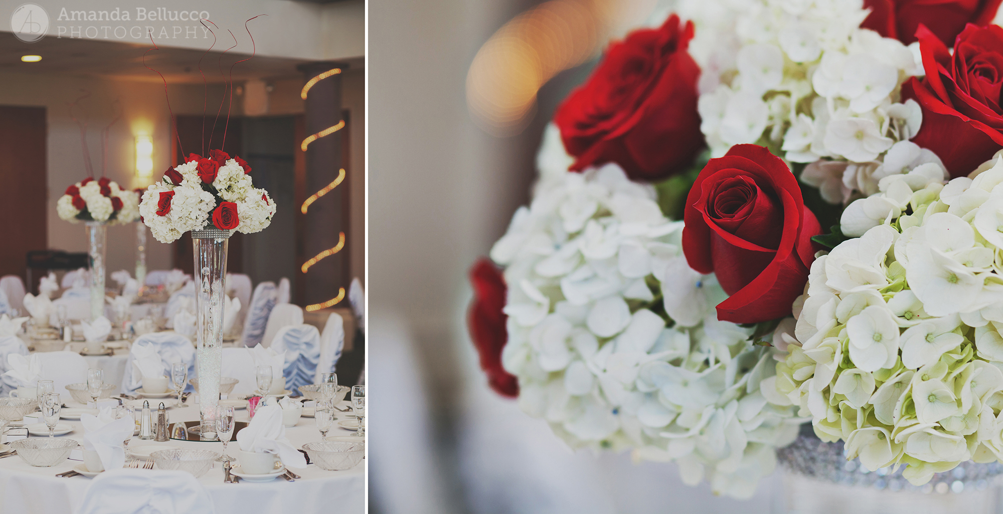 Gorgeous floral centerpieces for the reception at the Italian American Community Center.