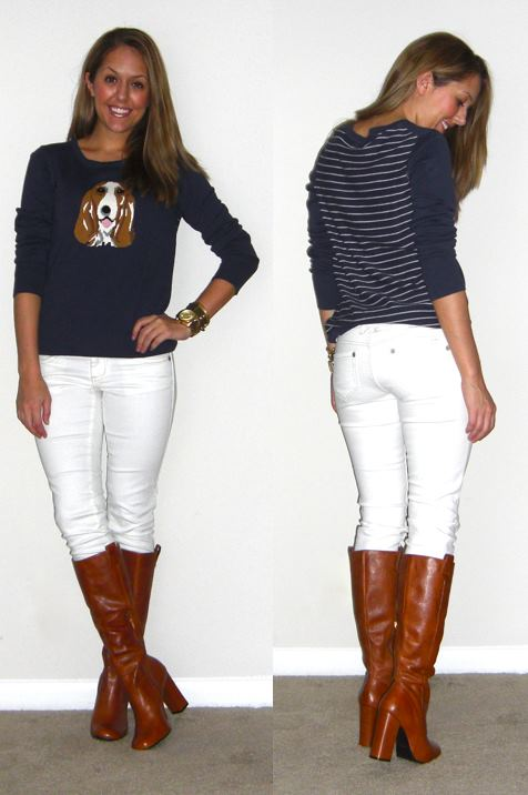 Sweater: Tommy Hilfiger c/o Ross, $25   Jeans: Ross, $17 (borrowed)   Boots: Grifter c/o Chinese Laundry, $149 -  http://bit.ly/tWSlYf   Watch: Michael Kors, family gift   Bracelets: Stella & Dot