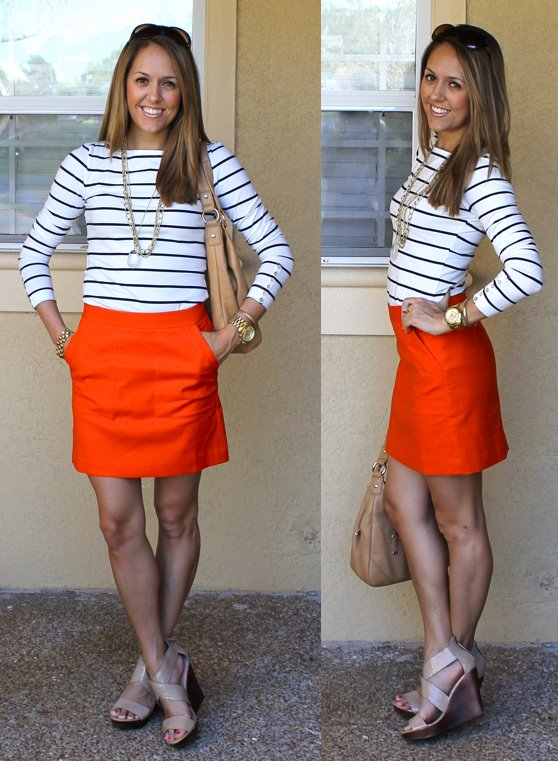 Shirt: H&M, $18 - similar:   http://bit.ly/whZpNY   Skirt: c/o LOFT, $30 -   http://bit.ly/FW2n9e   Purse: Calvin Klein from TJ Maxx, $120   Shoes: Steve Madden c/o MJR Sales, $40 -  http://www.mjrsales.com/?ref=4   Necklaces: My Stella & Dot website, $41 and $59 -  http://bit.ly/uUfOye  ,   http://bit.ly/Axfa7h   Watch: Michael Kors, family gift -  http://amzn.to/qqJe2S   Bracelets: Banana $10, My Stella & Dot website $49  http://bit.ly/tXB9AY   Rings: LOFT $10   http://bit.ly/zY4AcD  , My Stella & Dot website, $49   http://bit.ly/AhOhO4