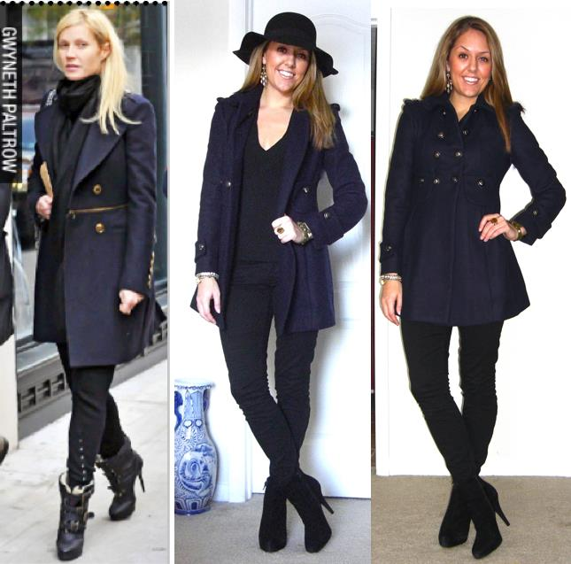 Inspiration photo: Who What Wear   Navy coat: Via c/o MJR Sales, $55 -  http://www.mjrsales.com/?ref=4   Black sweater: Express, old   Black jeans: Gap, $35   Black boots: Cynthia Rowley from TJ Maxx, $85   Hat: c/o Express, $12   Earrings: Banana Republic, $10 -   http://bit.ly/z3dM7E   Ring: My Stella & Dot website, $49 -  http://bit.ly/AhOhO4