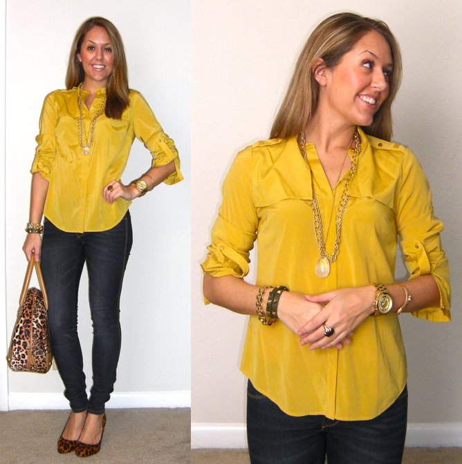 Shirt: Ann Taylor c/o LOFT, $20 -   http://bit.ly/t9u8Tg   Jeans: TJ Maxx, $18   Shoes: Banana Republic, $60   Purse: River Island, $60 Chain necklace: My Stella & Dot website, $41 - http://bit.ly/uUfOye  Simple necklace: My Stella & Dot website, $59 (with sold-out charm) -  http://bit.ly/Axfa7h  Ring: My Stella & Dot website, $49 - http://bit.ly/AhOhO4  Watch: Michael Kors, family gift - http://amzn.to/qqJe2S  Serpent bracelet (left): My Stella & Dot website, $49 - http://bit.ly/tXB9AY  Green bracelet (right): My Stella & Dot website, $59 - http://bit.ly/vahj2T  Watch bracelet (right): Banana Republic, $10