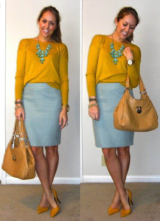 Sweater: LOFT, $17 -   http://bit.ly/tbni3W   Skirt: LOFT, $55   Necklace: H&M, $15   Shoes: Bandolino from TJ Maxx, $22   Purse: Calvin Klein from TJ Maxx, $120 (recent)   Watch: Michael Kors, family gift -  http://amzn.to/qqJe2S   Leather bracelet: My Stella & Dot website, $59-  http://bit.ly/vahj2T   Watch bracelet: Banana Republic, $10   Ring: My Stella & Dot website, $49 -  http://bit.ly/AhOhO4