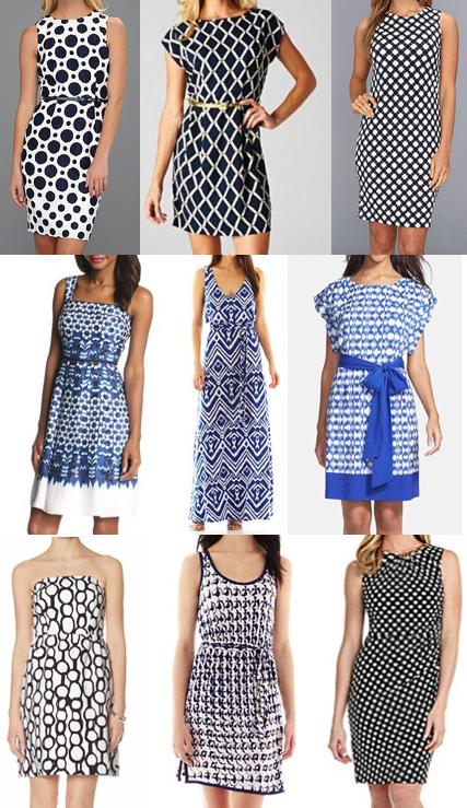 Blue print dress shopping