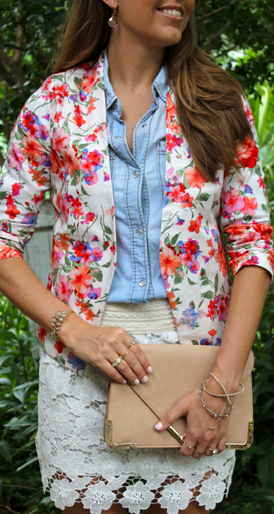 Floral blazer with crochet skirt