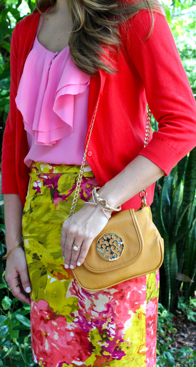 Floral skirt with red and pink
