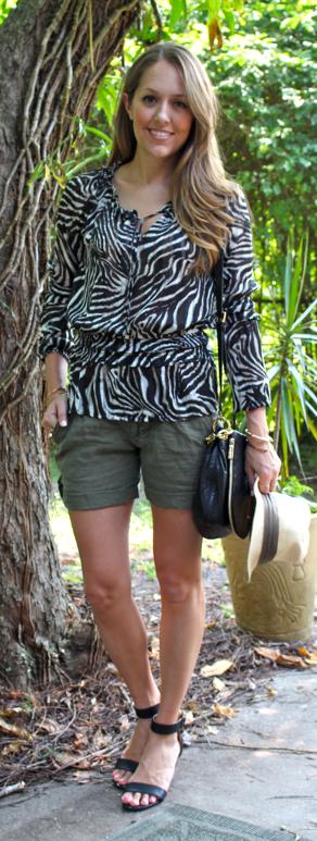 Zebra top and green linen shorts