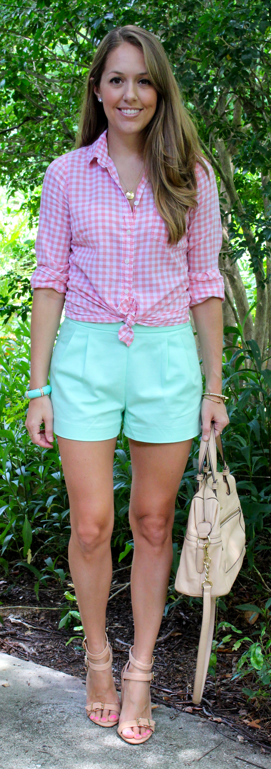 Pleated J. Crew mint shorts with pink gingham
