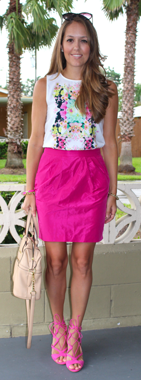 Pink skirt with pink lace-up heels