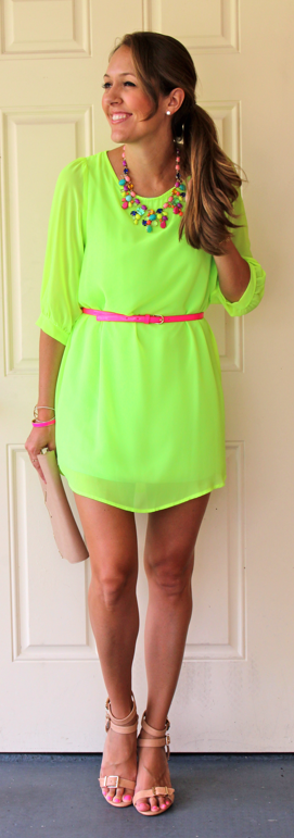 Neon dress with rainbow necklace