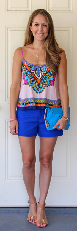 Printed top with cobalt shorts