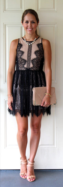 F21 nude and black lace dress