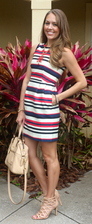 Red, white and blue J. Crew Factory dress