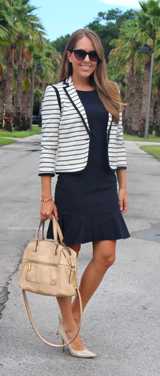 Ann Taylor striped blazer and navy dress