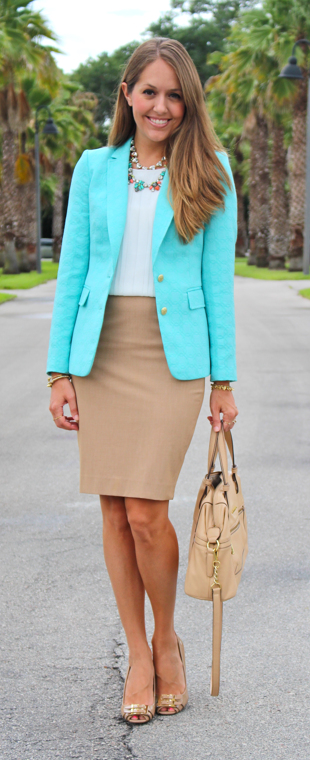 Turquoise blazer outfit