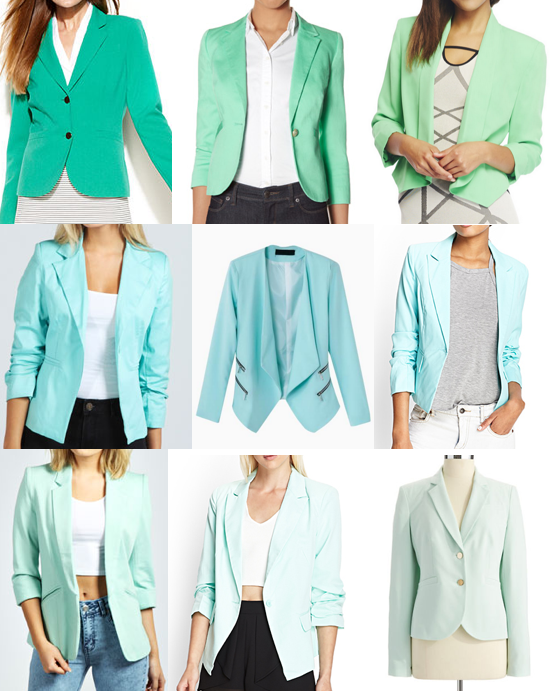 Turquoise and mint blazers