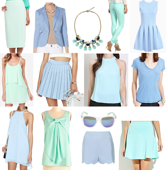 Powder blue and mint shopping