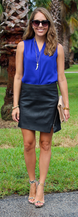 Nordstrom's fall sale: cobalt top and black faux leather skirt