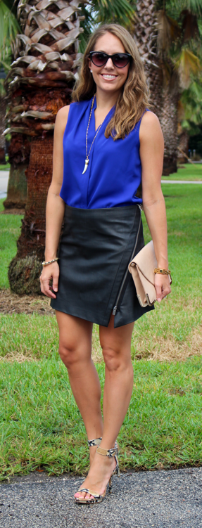 Cobalt top and leather skirt outfit idea