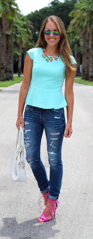 Mint peplum top outfit