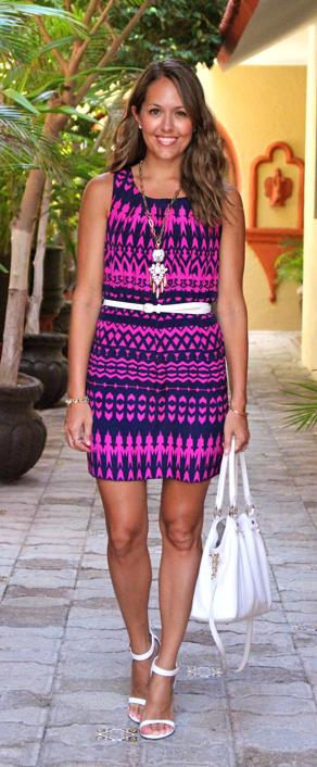 Navy and purple tribal dress