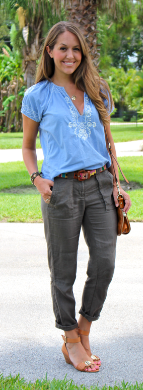 J.Crew embroidered top with LOFT linen pants