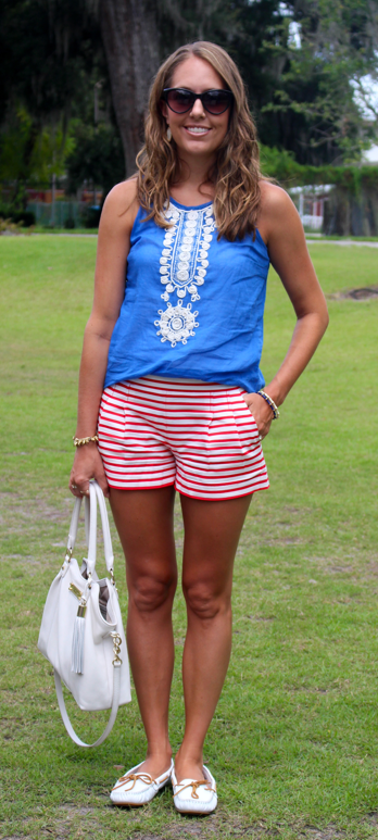 Blue embroidered top with J.Crew Factory red striped shorts