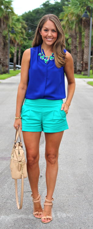 Cobalt top, turquoise shorts and statement necklace