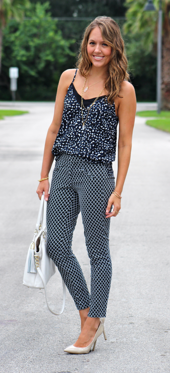 Print mixing creates a jumpsuit effect