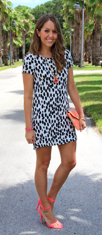 Black and white dress with neon accessories