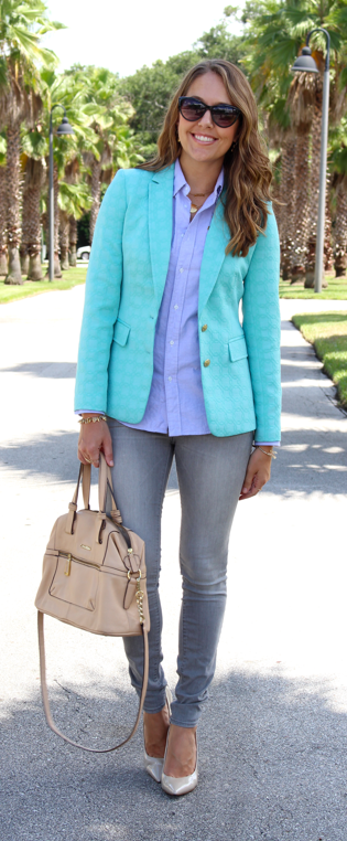 Turquoise blazer, blue oxford, gray jeans outfit idea