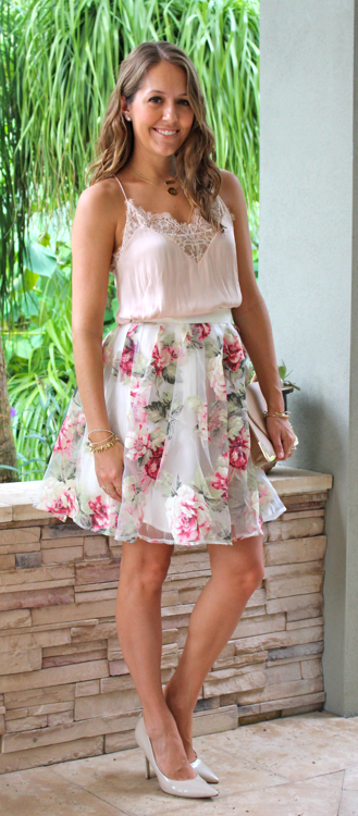 H&M blush cami with full floral skirt