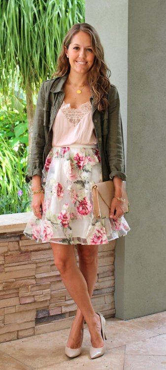 Military jacket with lace top and floral skirt
