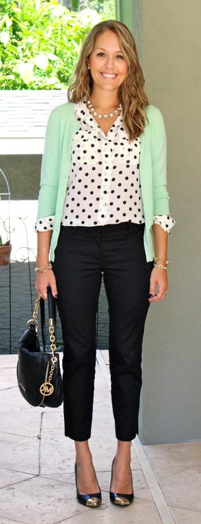 Mint cardigan, polka dot top, black cropped trousers