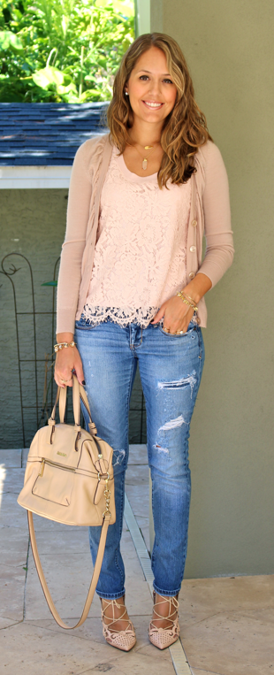Blush pink cardigan and lace top with distressed jeans