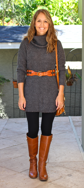 ASOS sweater dress with leggings and knee high boots
