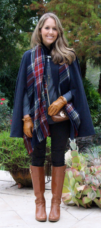 Wool cape, plaid scarf, riding boots for NYC