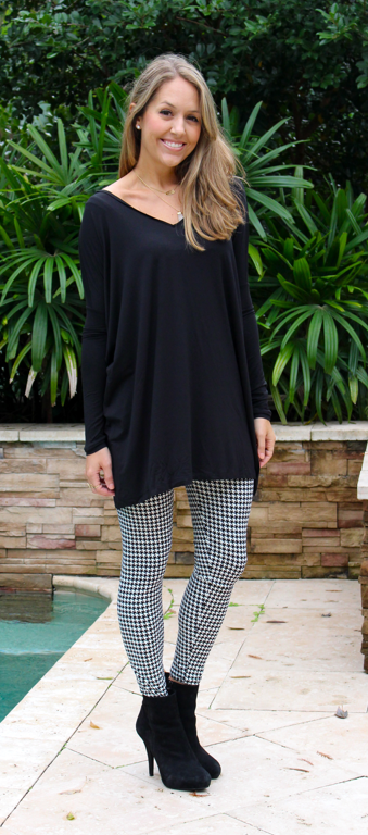 White Plum black tunic and houndstooth leggings