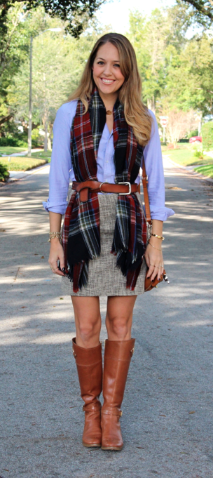 Outfit idea: plaid scarf worn under a belt