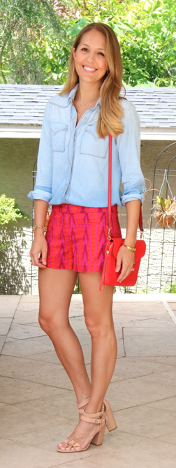 Chambray top with purple and red shorts