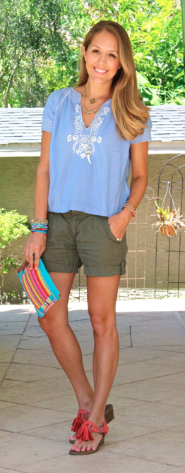 J.Crew Factory top with olive linen shorts