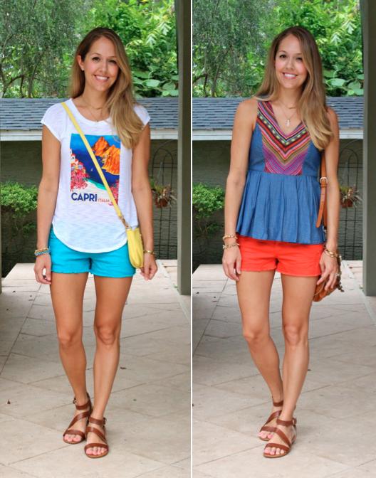 Colorful denim shorts, 2 ways