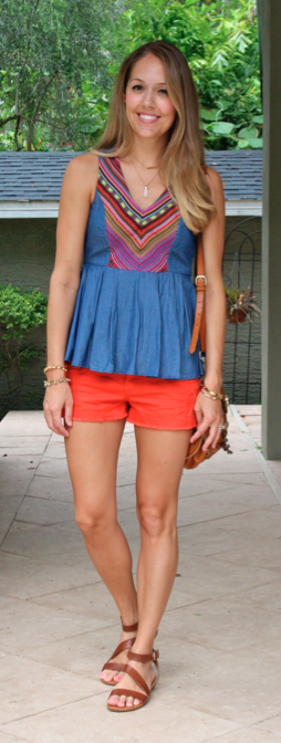 Chambray top with red shorts