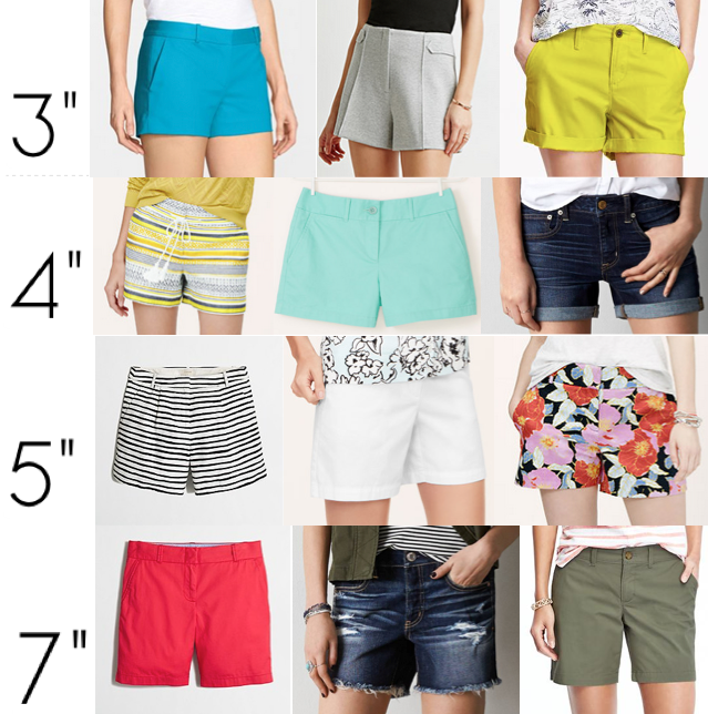 Shorts shopping by inseam length
