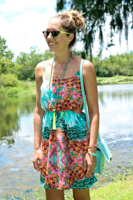 Turquoise sundress with cut-outs