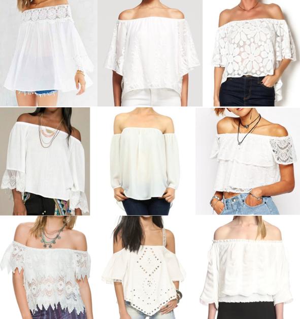 White off shoulder tops under $100