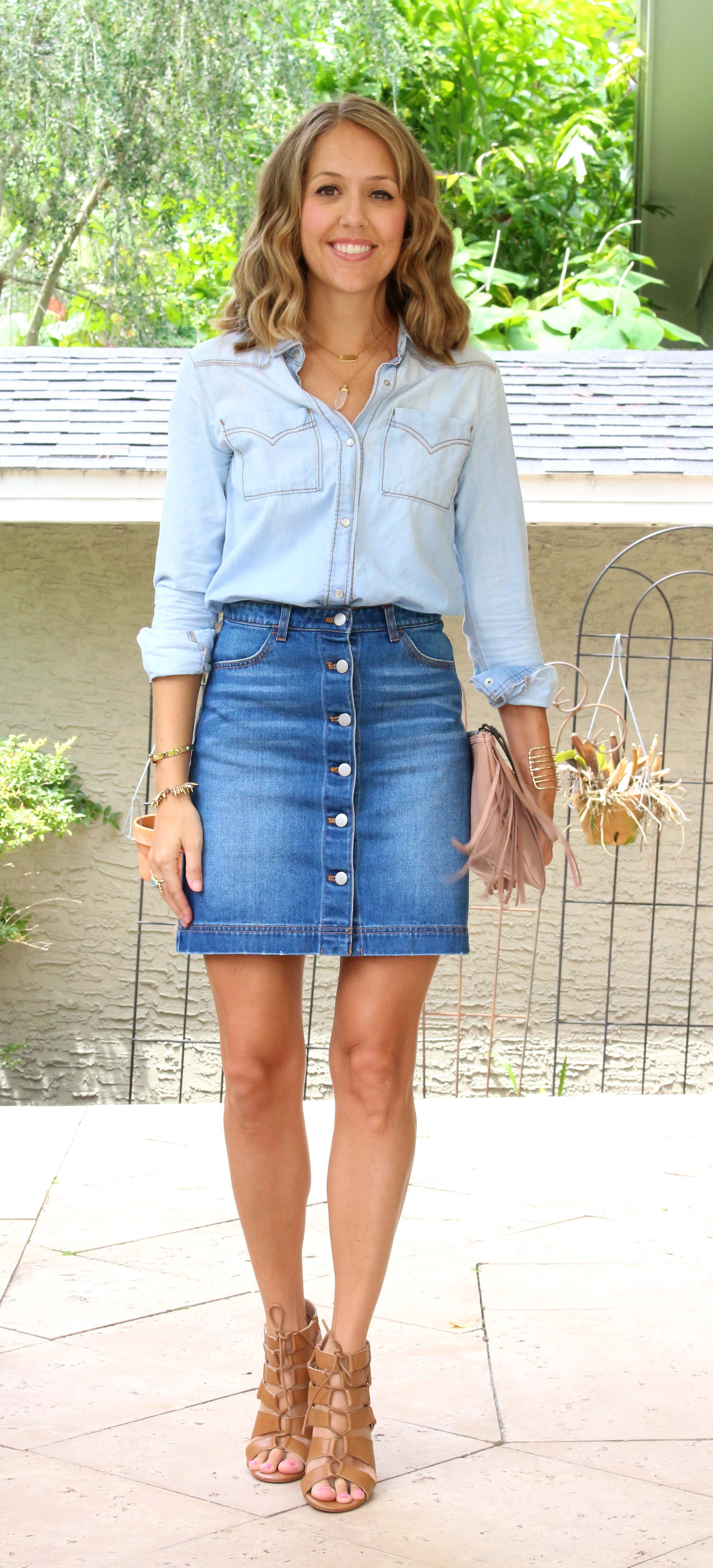 Chambray top with button front denim skirt