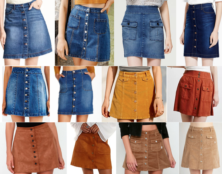 Button front skirts under $100