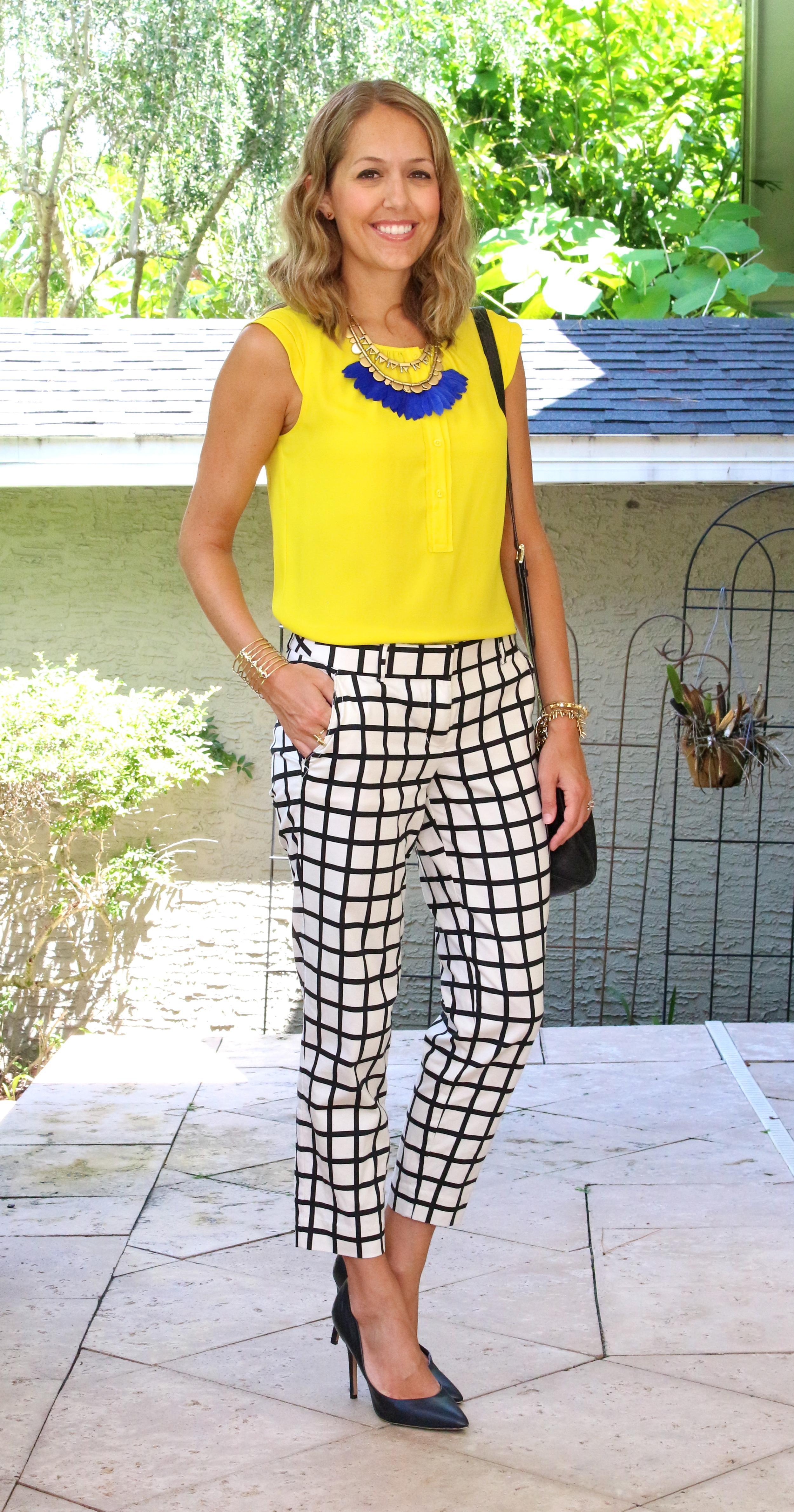 Stella & Dot plume necklace, yellow top, windowpane pants