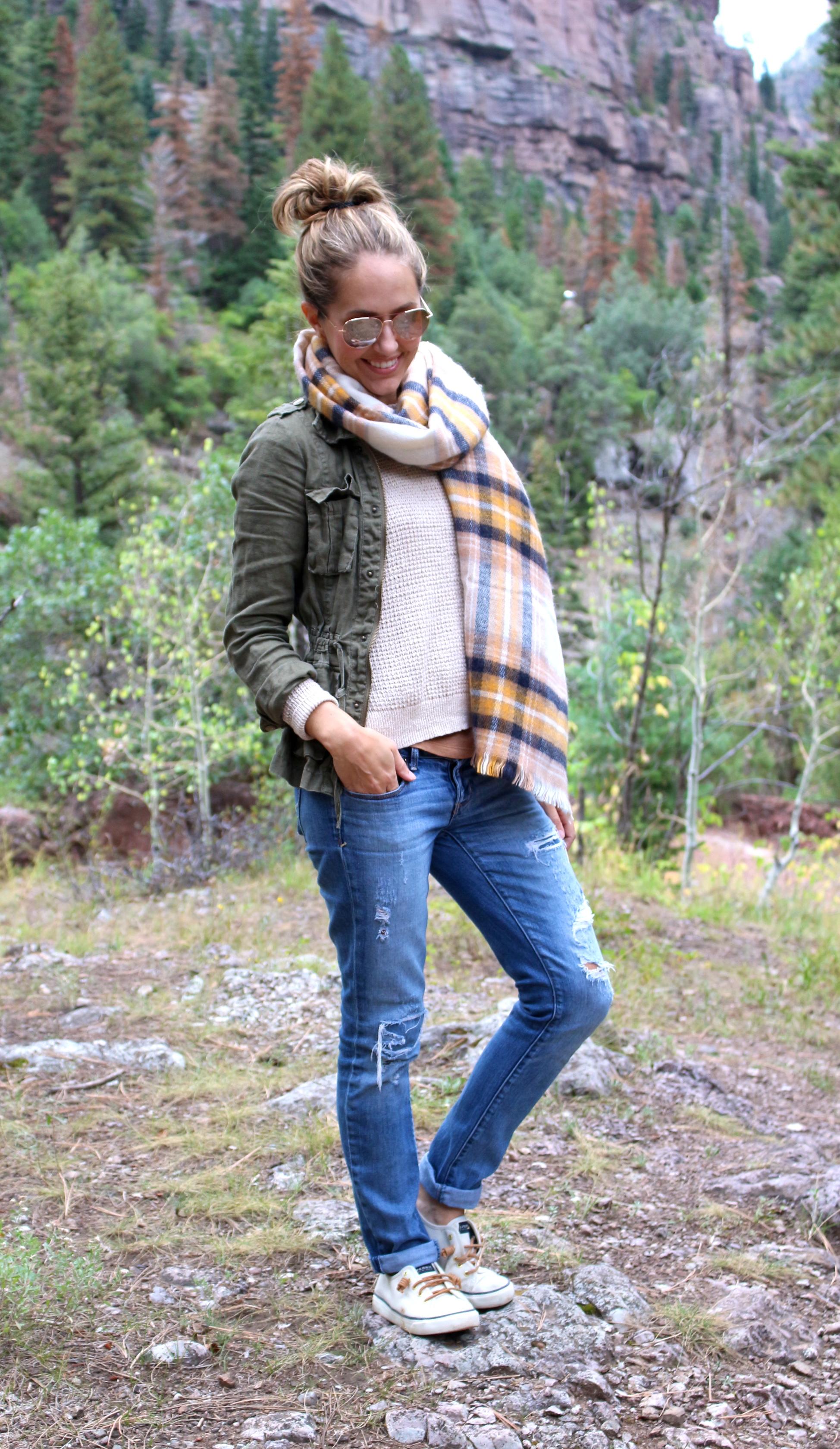 Field jacket, plaid scarf, Sperrys