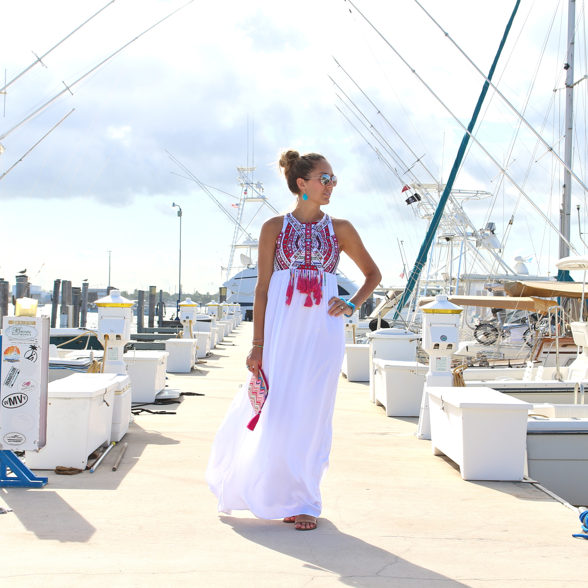 Embroidered white maxi dress, $68